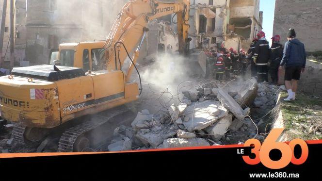 غلاف فيديو - البيضاء. انهيار منزل مكون من 4 طوابق بالمدينة القديمة