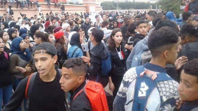 احتجاج تلاميذ إنزكان