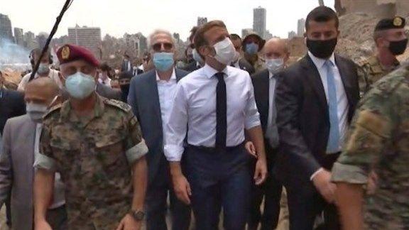 ماكرون في بيروت المنكوبة