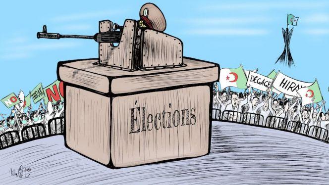 كاريكاتير: جنرالات الجزائر يتمردون على الحراك الشعبي بانتخابات غير مشروعة