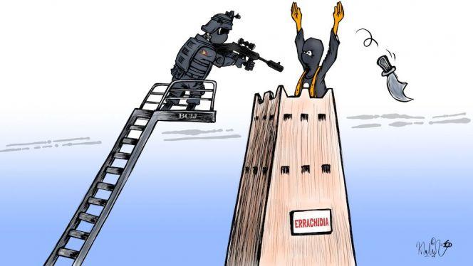 """كاريكاتير: """"البسيج"""" يُفكّك خلية إرهابية بمدينة الرشيدية"""
