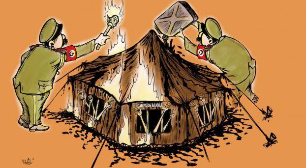 """كاريكاتير تورّط الجيش الجزائري في إضرام بالنار بـ""""مخيم الداخلة"""""""