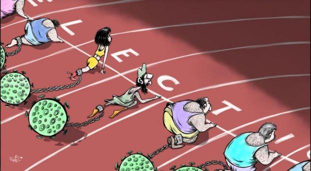كاريكاتير الانتخابات في زمن كورونا