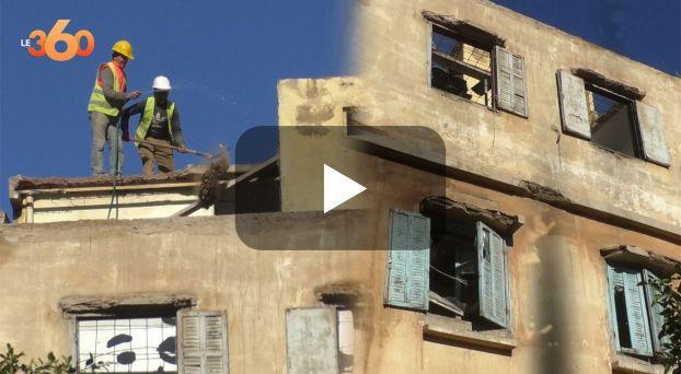 Cover_Vidéo: سلطات البيضاء تُشرف على عملية هدم مبنى آيل للسقوط