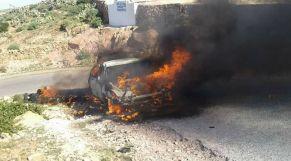 سيارة تحترق بتيزنيت 5