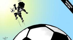 كاريكاتير: الساحرة المُستديرة تبكي لفراق أرماندو مارادونا