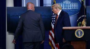 ترامب يغادر مؤتمرا صحفيا بسبب إطلاق نار