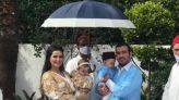 صفاء حبيركو وزوجها خلال احتفالهما بحفل عقيقة طفليهما