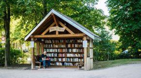 كشك / مكتبة للقراءة وسط حديقة عمومية