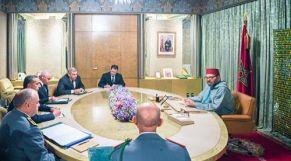 الملك محمد السادس، بالقصر الملكي بالدار البيضاء، خلال ترأسه جلسة عمل خصصت لتتبع تدبير انتشار وباء فيروس كورونا ببلادنا