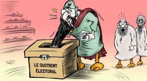 """كاريكاتير: """"البيجيدي"""".. المُصوّت الوحيد ضد القاسم الانتخابي الجديد"""