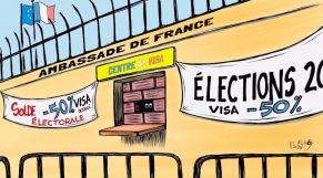 كاريكاتير: فرنسا تشدد شروط منح التأشيرات على المغرب وتونس والجزائر