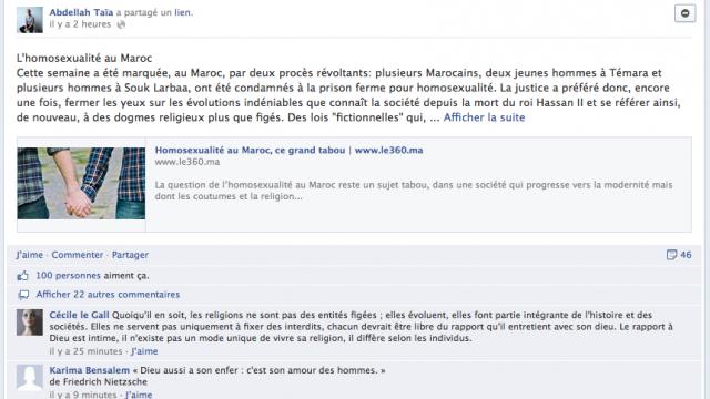 Capture mur Facebook Abdellah Taia