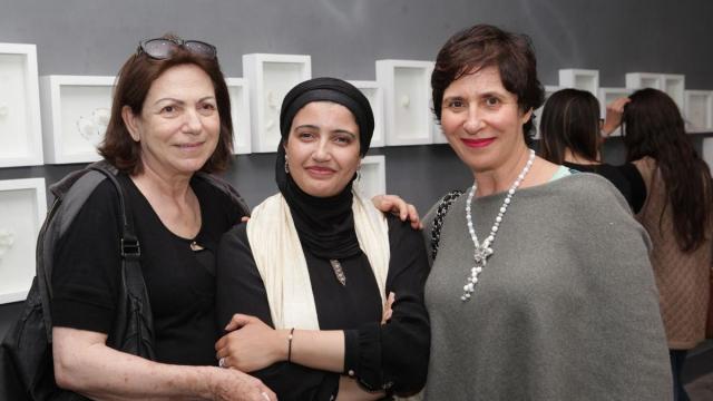 Mme Britel Ghita.Safaa Erruas,artiste peintre et Tania Chorfi Bennani Smires Villa des Arts Casablanca.