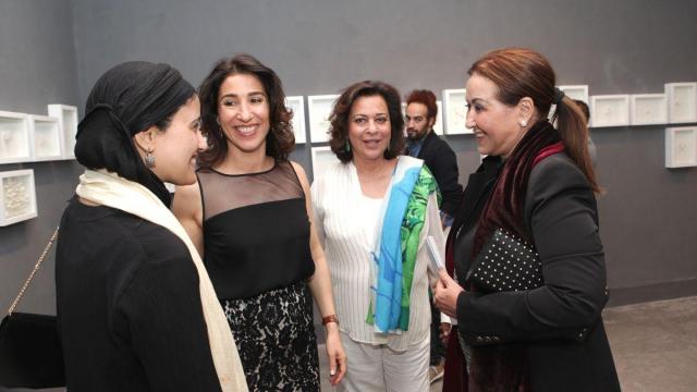 Safaa Erruas,artiste peintre.Nadia Amor,Atelier21.Aicha Amor,Atelier21.et Maitre Houria Tazi.