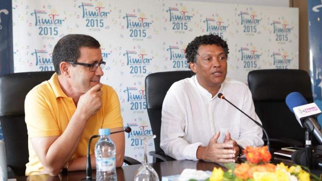 Brahim El Mazned,directeur artistique festival timitar et Mario  Lucio,ministre de la culture,Cap Vert.