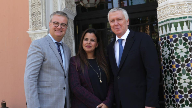Denys Courtier,directeur.Lamia El Ghorfi Responsable de Communication et  Pierre Jochem DG de la Mamounia