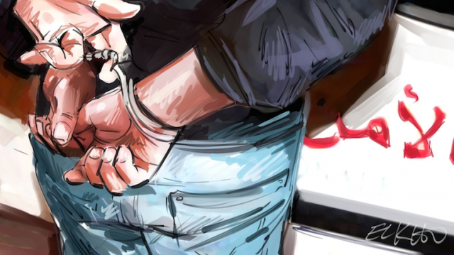 dessin menottes et flics