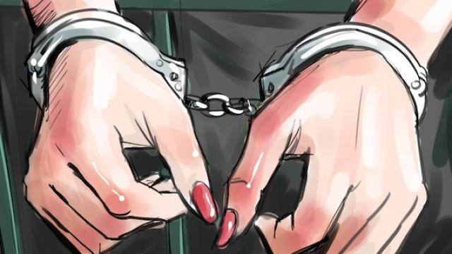 arrestation femme dessin
