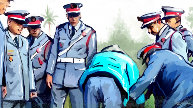 Arrestation fouille police dessin