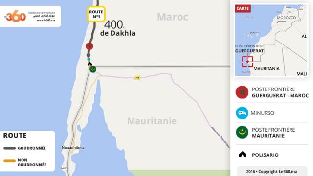 Maps Carte Guerguerat Maroc  Polisario