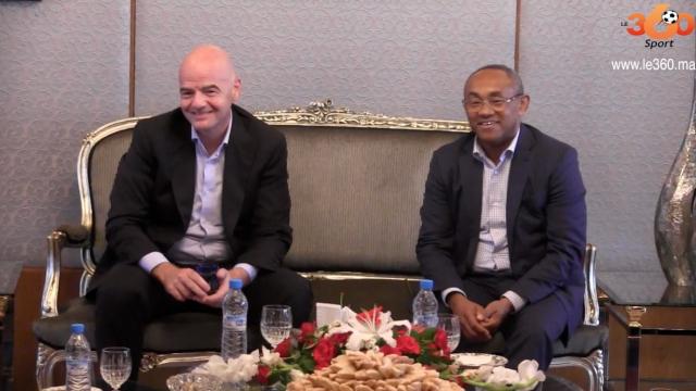 Ahmad Ahmad et Infantino à Rabat