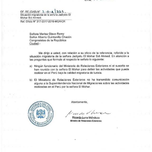 lettre du MAE péruvien