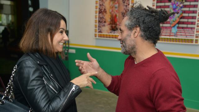 L'artiste Hassan Hajjaj et l'actrice Samia Akariou