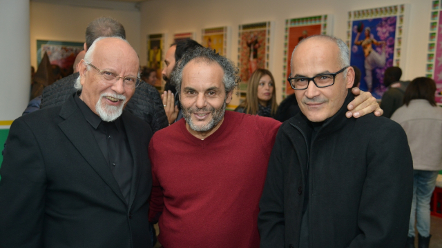 Les artistes Mohamed Melehi, Hassan Hajjaj et Mohamed El Baz