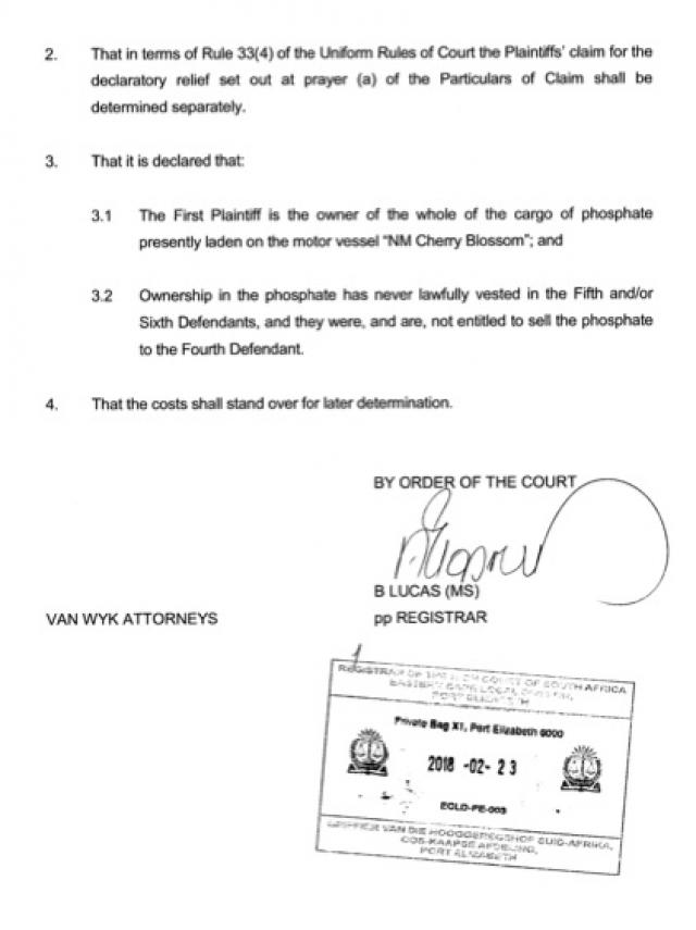 jugement afrique du sud