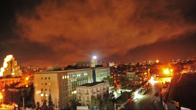 Damas dans la nuit du 14 avril 2018 pendant les frappes américaines
