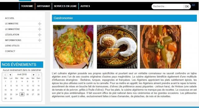 Site ministère du Tourisme Algérie