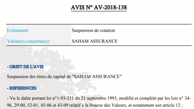 Suspension titre Saham Assurance