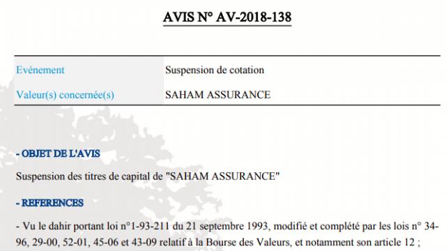 Suspension titre Saham Assurance