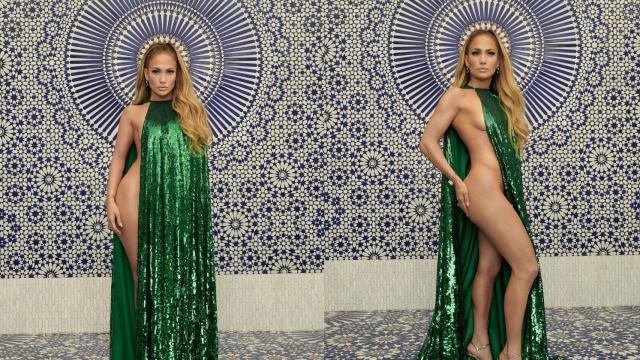 J-Lo pose sur fond de zellige marocain