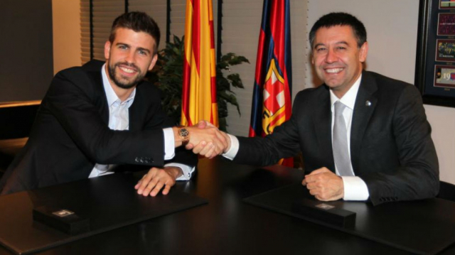 Bartomeu, président du Barça, et Gerard Piqué