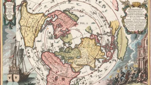 Carte du monde du temps de Magellan