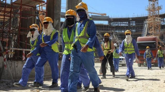 Ouvriers des chantiers de Qatar 2022