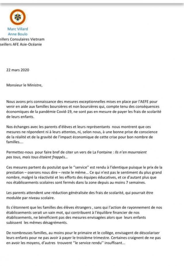 lettre au sg français / AEfe