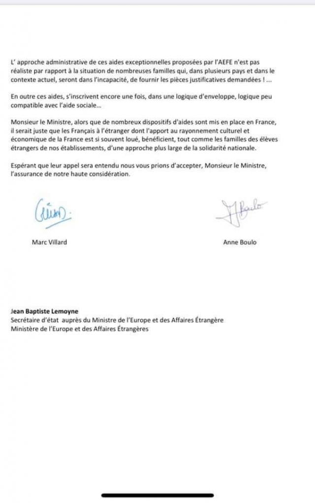 lettre au sg français / AEfe 2