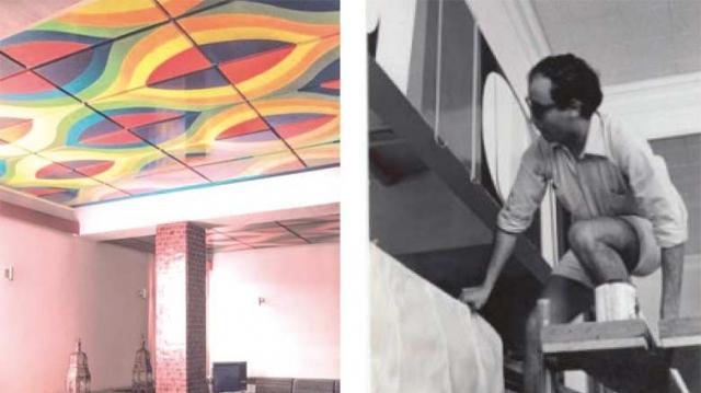 """les plafonds en bois de Mohamed Melehi à l'hotel """"les roses de dades"""""""