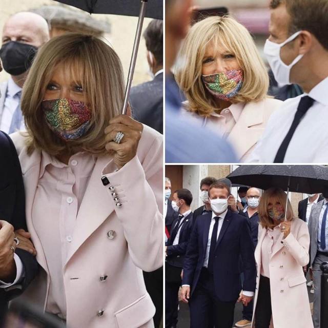 Brigitte Macron porte un masque signé Mehdi Qotbi