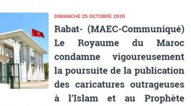 Condamnation des caricatures par le Maroc