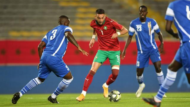 Hakim Ziyech contre la République Centrafricaine, le 13 novembre 2020.