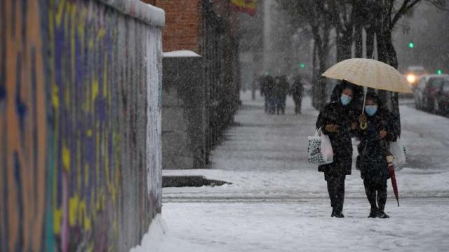 Madrilènes sous la neige