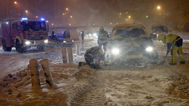 La neige bloque les routes en Espagne