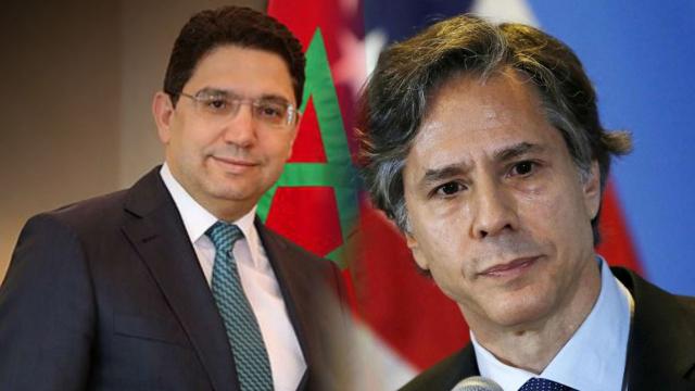 Nasser Bourita, ministre des Affaires étrangères, et Antony Blinken, secrétaire d'Etat américain.
