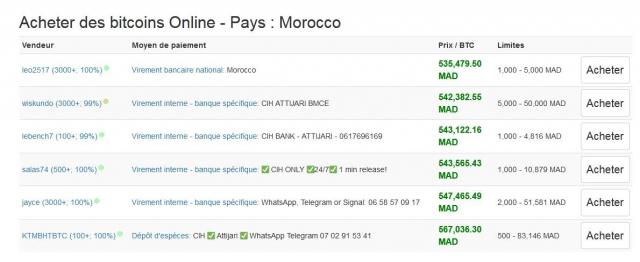 Offres de Bitcoins en dirhams sur la plateforme Localbitcoins