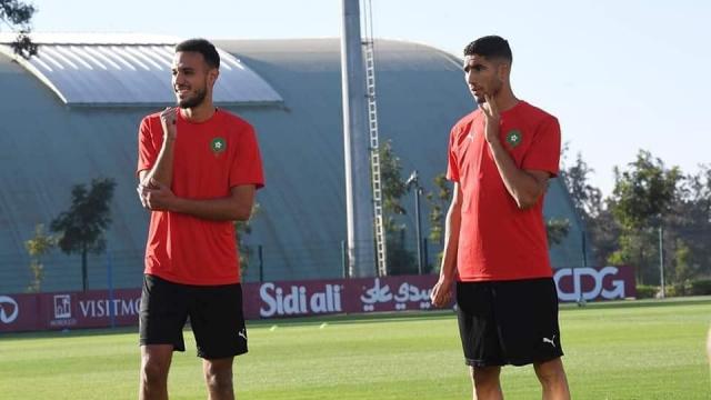 Les internationaux marocains Achraf Hakimi et Noussair Mazraoui.