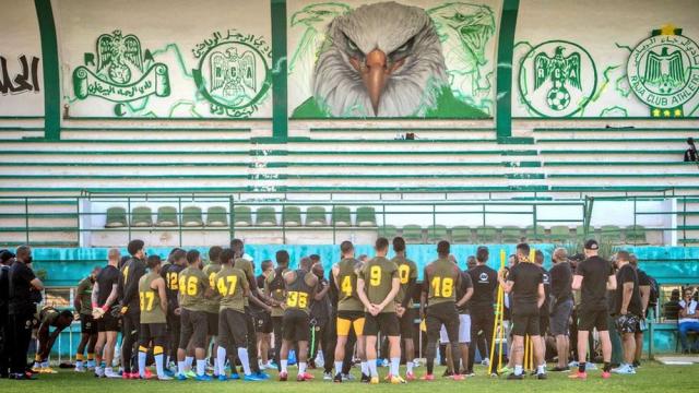 Les Kaizer Chiefs lors d'une séance d'entrainement au Complexe sportif Raja-Oasis